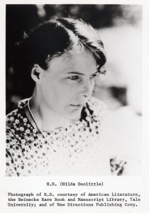 H.D. (Hilda Doolittle) Photograph of H.D. Courtesy of American Literature, the Beinecke Rare Book and Manuscript Library, Yale University; and of New Directions Publishing Corp. Photo portrait of H.D. facing to the right, bathed in sunlight.