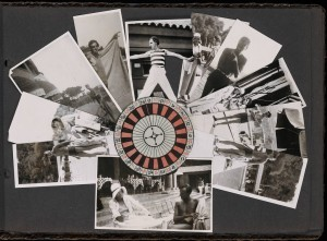 This page from one of H.D.'s scrapbooks features 10 images of men in bathing suits and beach wear and H.D. in a sun hat, arrayed in a fan around a black, red, and white roulette wheel. One image centered at the bottom of the page shows H.D. and what appears to be Kenneth Macpherson seated at a small table with steps and other cafe tables behind. These images most likely record their trip to Monte Carlo and include images of Robert Herring as well as Macpherson, described in Herring's books, Cactus Coast (Imprimerie Darantiere, 1934). [Note on image by Celena Kusch]. Photo from Yale Collection of American Literature. Beinecke Rare Book and Manuscript Library.