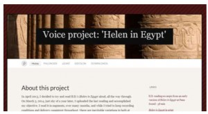 Screen Capture of Nic Sebastian's Voice Project: 'Helen in Egypt' featuring columns carved with hieroglypics