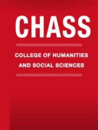 Logo of the College of Humanities and Social Sciences at North Carolina State University. White letters on Red Background.