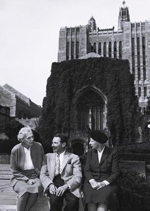 H.D. at Yale Sept 1956 with Norman Holmes Pearson and Bryher in front of Sterling Library. Image from Beinecke Library Digital Collections. H.D. Papers.