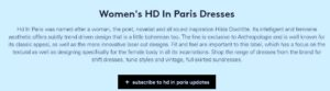 Screen Shot of www.lyst.com describing Women's HD in Paris Dresses