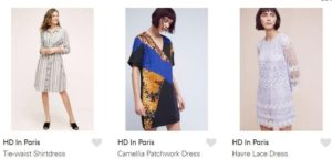 H.D. in Paris Clothing Samples with 1920s inspiration for three different outfits. Screen Shot from Lyst