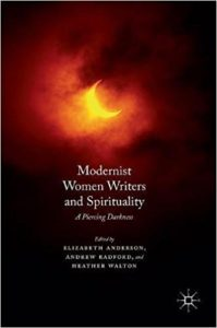 Book Cover for Modernist Women Writers and Spirituality, featuring a glowing moon in a cloudy sky.