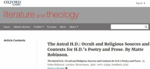 Screen Shot of the Oxford Journals Web page for Literature and Theology