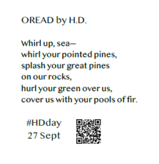Oread by HD text of poem and #HDday, 27 Sept